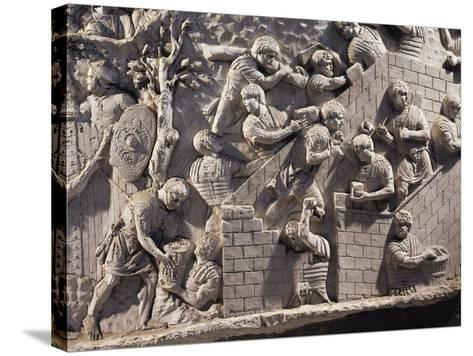Cast of Trajan's Column, Detail of Soldiers Building Fortifications in Dacia--Stretched Canvas Print