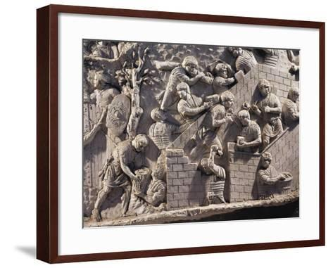 Cast of Trajan's Column, Detail of Soldiers Building Fortifications in Dacia--Framed Art Print