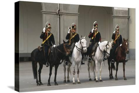 Horse Regiment Trumpeters at Cuirassiers Gala--Stretched Canvas Print