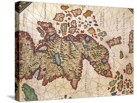 Map of New Caledonia, from Nautical Atlas by Giorgio Sideri Called Callapoda--Stretched Canvas Print