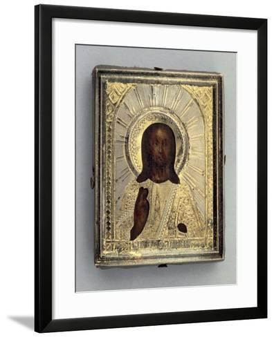 Small Travel Icon Depicting Blessing Christ--Framed Art Print