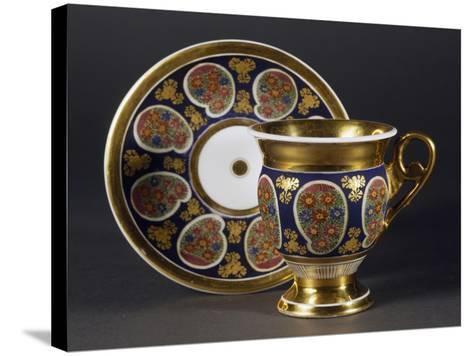 Cup and Saucer, 1820, Porcelain, Bohemia Manufacture, Czech Republic--Stretched Canvas Print