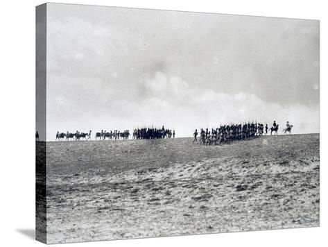 Arab-Somali Companies under Command of Italian Officers Marching in Desert--Stretched Canvas Print