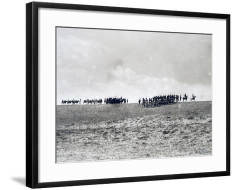 Arab-Somali Companies under Command of Italian Officers Marching in Desert--Framed Art Print