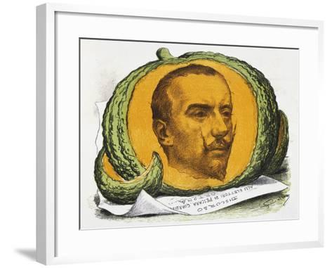 Seasonal Fruit, Cartoon About Gabriele D'Annunzio from the Pasquino, August 29, 1897, Italy--Framed Art Print
