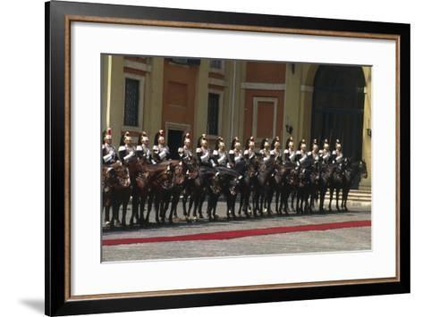 Soldiers on Horseback at Cuirassiers Gala--Framed Art Print