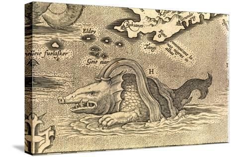 Detail of Geographical Map Depicting Monstrous Sea Creature--Stretched Canvas Print