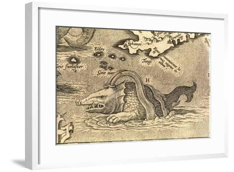 Detail of Geographical Map Depicting Monstrous Sea Creature--Framed Art Print