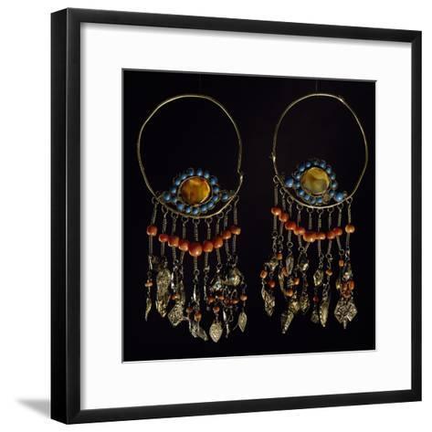 Earrings in Silver-Gilt, Turquoise, Coral and Moss Agate, Region of Khorezm, Uzbekistan--Framed Art Print