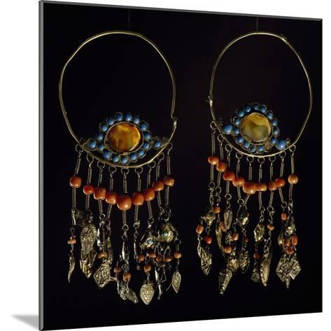 Earrings in Silver-Gilt, Turquoise, Coral and Moss Agate, Region of Khorezm, Uzbekistan--Mounted Giclee Print