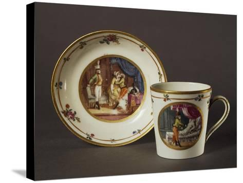 Cup and Saucer Decorated with Courtly Scenes in Austrian Setting--Stretched Canvas Print