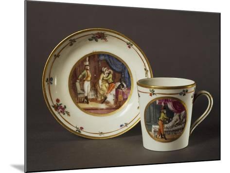 Cup and Saucer Decorated with Courtly Scenes in Austrian Setting--Mounted Giclee Print