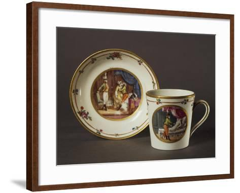 Cup and Saucer Decorated with Courtly Scenes in Austrian Setting--Framed Art Print
