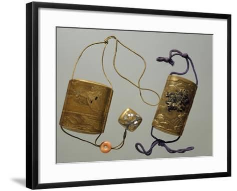 Inro in Lacquered Wood, Goldsmith's Art, Coral, Japan--Framed Art Print