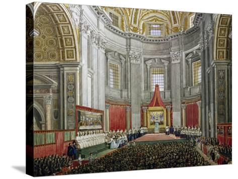 Solemn Celebration in Memory of Pope Pius IX, in St Peter's Basilica, Vatican City--Stretched Canvas Print