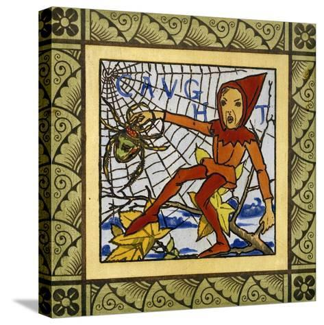 Gnome Trapped in Spider's Web, Decorative Tiles from Life of Gnomes Series, Ceramic, England--Stretched Canvas Print