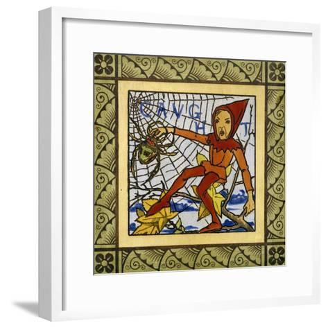 Gnome Trapped in Spider's Web, Decorative Tiles from Life of Gnomes Series, Ceramic, England--Framed Art Print