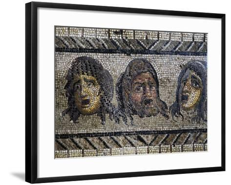 Tragic Masks, Detail from Mosaic of Triumph of Dionysus Uncovered in Daphne, Antioch, Turkey--Framed Art Print