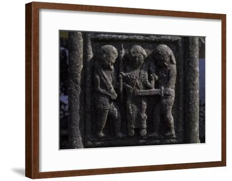 12th Century Muiredach's High Cross and 9th Century Round Tower in Monastic Site at Monasterboice--Framed Art Print