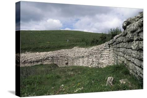Walls, Archaeological Ruins of Monte Adranone, Sicily, Italy--Stretched Canvas Print