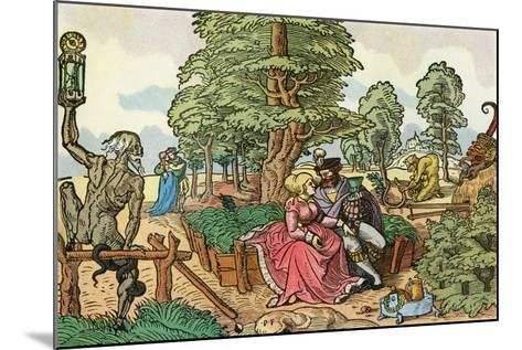 After a 16th Century Woodcut by Peter Flötner Entitled the Hazards of Love, Lovers in a Garden--Mounted Giclee Print
