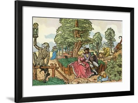 After a 16th Century Woodcut by Peter Flötner Entitled the Hazards of Love, Lovers in a Garden--Framed Art Print