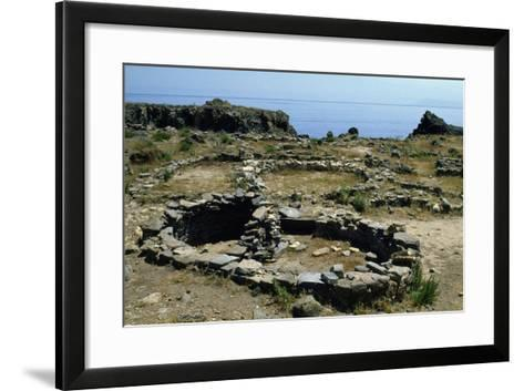 Glimpse of Prehistoric Village of Capo Milazzese, Island of Panarea, Aeolian Islands, Sicily, Italy--Framed Art Print