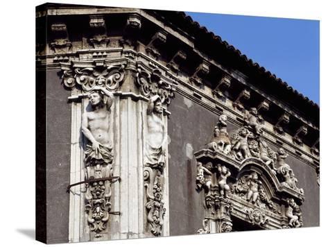 Italy, Sicily, Catania, Palazzo Biscari, Facade Rococo Decoration, Detail--Stretched Canvas Print