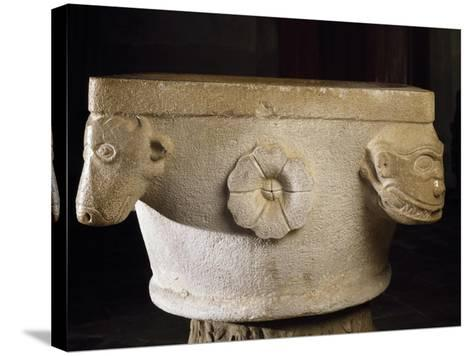 Font with Roman Capital Ruins, Cathedral of Asti--Stretched Canvas Print