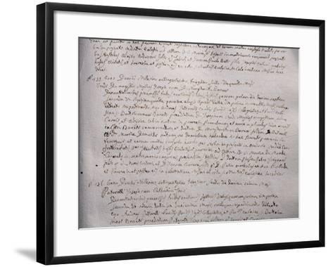 Wedding Register with Marriage Certification of Giuseppe Verdi and Margherita Barezzi, 1836--Framed Art Print
