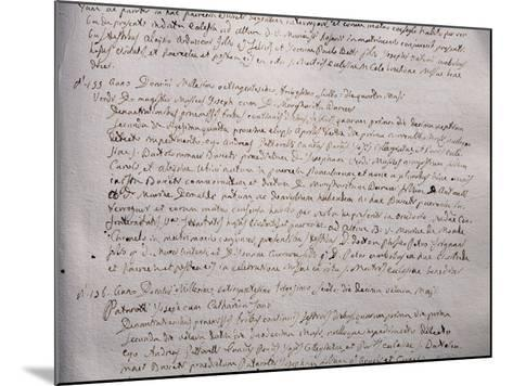 Wedding Register with Marriage Certification of Giuseppe Verdi and Margherita Barezzi, 1836--Mounted Giclee Print