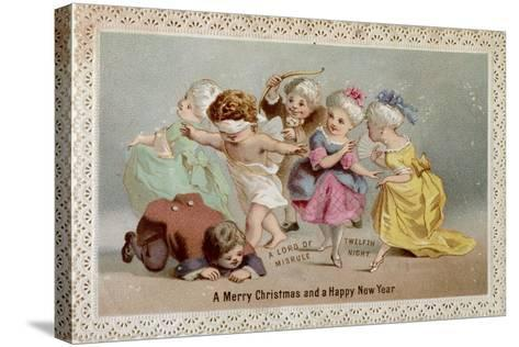 Blind Man's Buff, Victorian Christmas and New Year Card--Stretched Canvas Print