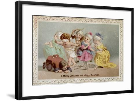 Blind Man's Buff, Victorian Christmas and New Year Card--Framed Art Print