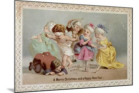 Blind Man's Buff, Victorian Christmas and New Year Card--Mounted Giclee Print