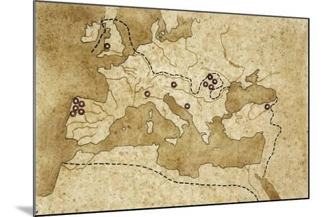 Map of Basin of Mediterranean Sea with Main Centers of Gold Extraction--Mounted Giclee Print