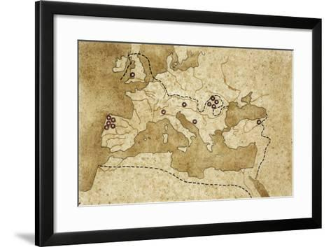 Map of Basin of Mediterranean Sea with Main Centers of Gold Extraction--Framed Art Print