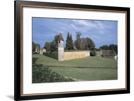 Castle on a Landscape, Mauriac Castle, Douzillac, Aquitaine, France--Framed Art Print