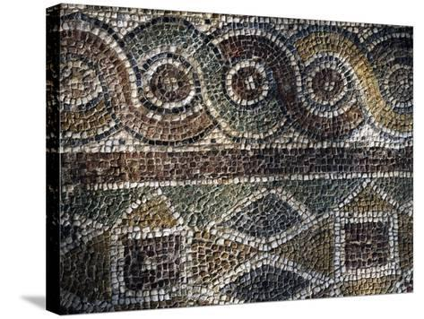Fragment of Mosaic with Geometric Patterns Uncovered in Agora of Smyrna, Turkey--Stretched Canvas Print