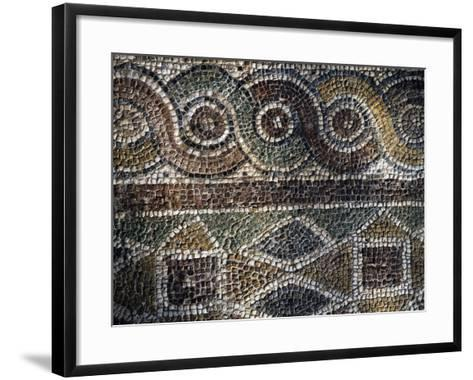 Fragment of Mosaic with Geometric Patterns Uncovered in Agora of Smyrna, Turkey--Framed Art Print