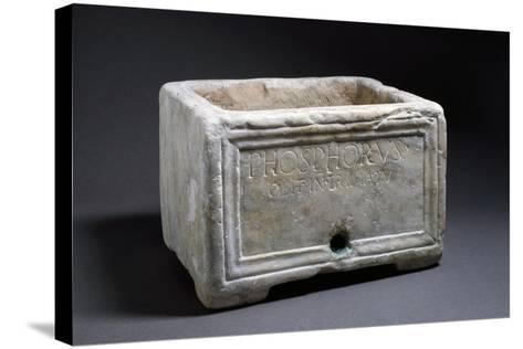 Rectangular Marble Funerary Urn with Bas-Relief Decorations--Stretched Canvas Print
