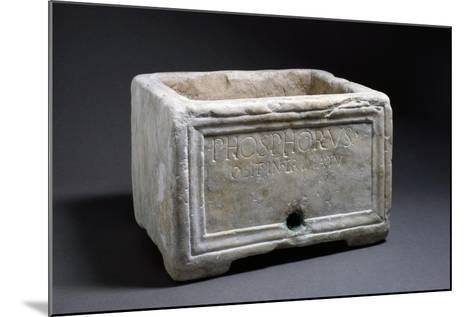 Rectangular Marble Funerary Urn with Bas-Relief Decorations--Mounted Giclee Print