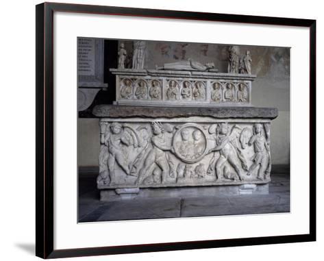 Clypeus Depicting Pair of Deceased Spouses Held Up by Two Winged Genuses--Framed Art Print