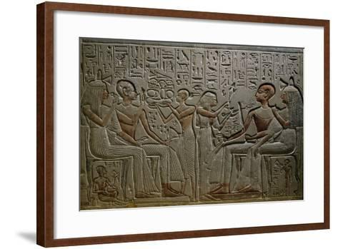 Deceased Couple Receiving Offerings from their Son and Daughter--Framed Art Print