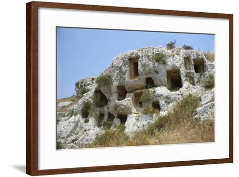 Italy, Sicily Region, Sortino, Province of Syracuse, Necropolis of Pantalica--Framed Art Print