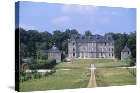 France, Brittany, Morbihan, Fortress and Garden of 18th Century Loyat Castle--Stretched Canvas Print