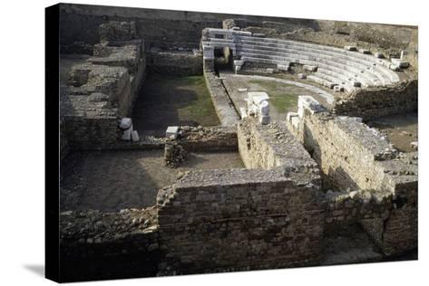 Ruins of Roman Theatre of Albintimilium, Ventimiglia, Liguria, Italy Ad--Stretched Canvas Print