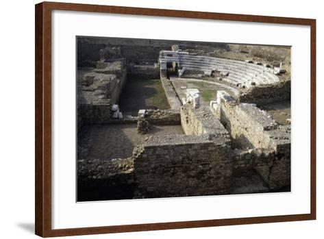Ruins of Roman Theatre of Albintimilium, Ventimiglia, Liguria, Italy Ad--Framed Art Print