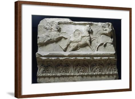 Horseback Riding from Temple of Apollo Sosianus, Rome, Italy--Framed Art Print