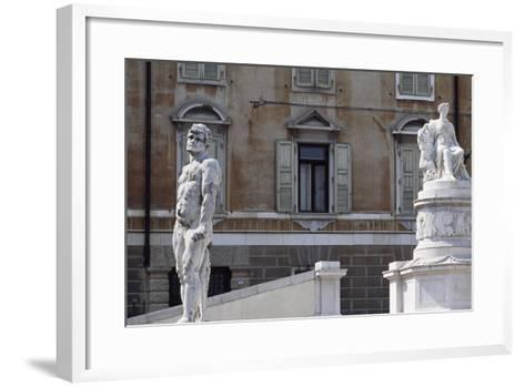 Italy, Friuli-Venezia Giulia, Udine, View of Freedom Square with Statue of Cacus and Peace--Framed Art Print