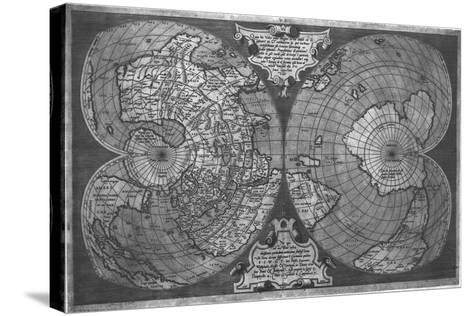 Double Cordiform World Map by Antonio Salamanca, Copperplateed in Roma 1550--Stretched Canvas Print